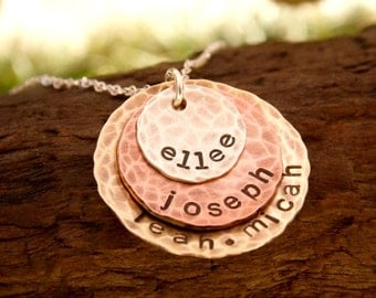 Grandmother Necklace Hand Stamped Mixed Metal Stacked Discs with Kids Names