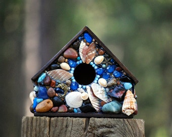 Tropical, Mosaic Birdhouse, beach house,  ocean decor, beach art, shell birdhouse, beach glass, bird home, tropical birdhouse, outdoor house