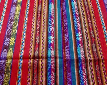 """Ecuador wide fabric 54"""" table cloth fringe RED w/Andean patterns stripes acyrlic fine woven suiting Ethnic Southwest style - cut 1 1/2"""" yd"""