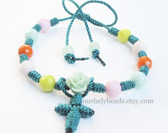 Knotted Rosary Bracelet Teal Green And Mix Acrylic Beads- Religious Jewelry Gift,Confirmation,First Communion,Mother's Day,Friendship,Decade