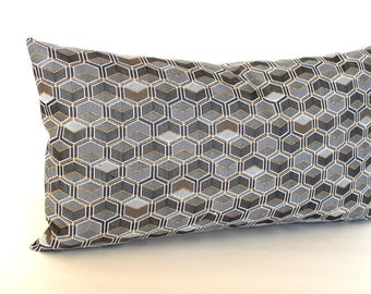 Lumbar Pillow Cover Grey Gold Throw Pillow Cover Geometric Upholstery Fabric Decorative Pillow Oblong 12x24 12x21 12x18 12x16 10x20