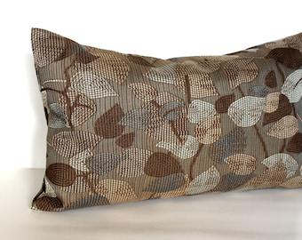 Lumbar Pillow Cover Brown Pillow Blue Grey Leaf Upholstery Fabric Decorative Pillow Oblong Throw Pillow Cover 12x24 12x21 12x18 12x16 10x20