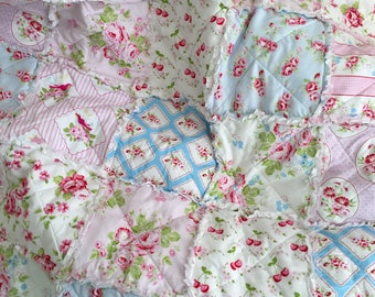 Crib Rag Quilt Baby Girl Crib Bedding Shabby Chic Nursery Pink Blue Nursery
