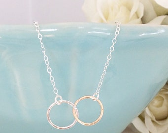 Eternity Gold Necklace, Silver Necklace, Eternity Necklace, birthday gifts, Bridesmaid Necklace Bridesmaid gifts Best Friend Gifts, Sister