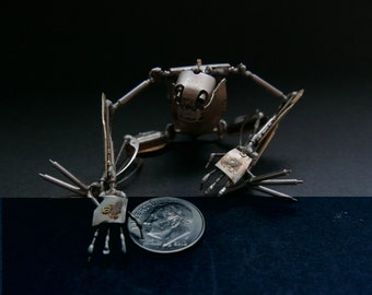 "Watch Parts Creature ""Winder"" Articulated Clockwork Imaginary Friend No 3 Mechanical Robot Recycled Steampunk Justin Gershenson-Gates"