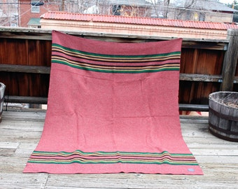 Vtg. Wool Pendleton Camp blanket made in USA Full / Queen Lodge / Cabin Decor