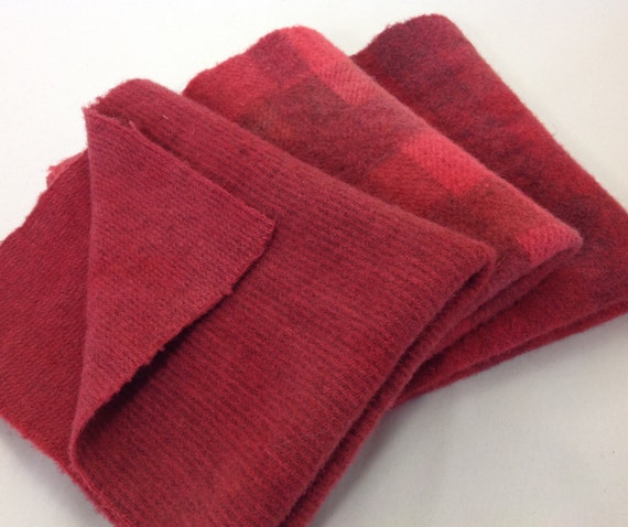 Crimson Trio, 3) Fat 1/8ths,  Hand Dyed Wool Fabric,  W311, Crimson Red, Vermillion Red, Rich Warm Red