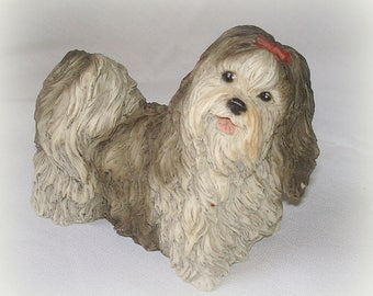 Lhasa Apso or Shih Tzu Vintage Dog Figurine Castagna Collections Italy Well Detailed Black/Gray White Home Decor Collectible Table Decor
