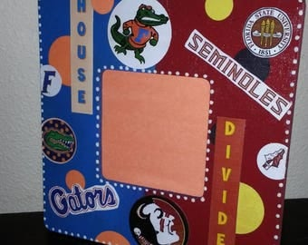HouSE DIviDEd Picture Frame Florida Florida State Gators Seminoles UF vs FSU - or any schools teams-by Mama Duck Creations