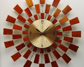Starburst Wall Clock, Mid Century Modern, After George Nelson Pixel Style Sunburst Design, 1970s