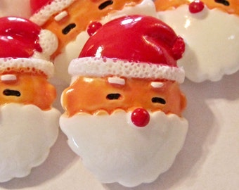 Santa Face Resin Cabochons Embellishment Buttons Lot of 2