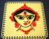 Reserved for Manuel Thomas Indian Godess Durga  Paper Quilling Wall Art