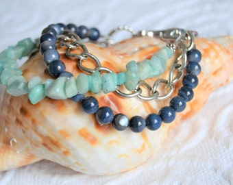 AMAZONITE Blue MOTHER of PEARL Chain Layered Bracelet with Clip Clasp