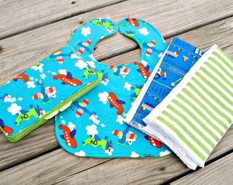 Bib and Burp Cloth Baby Boy Gift Set / Bib, Burp Cloth and Wipes Case
