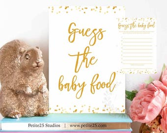 Guess the Baby Food game, gold foil dots, baby shower game, printable game, guess baby food