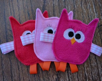 READY TO SHIP - Valentine's Friendly Owl Crinkle Toy for Baby Girl