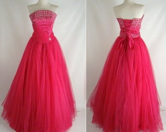 As-Is. Pink Strapless Sequins Puffy Corset Back Quinceanera Dress OR Customizable Zombie Prom Costume OPTIONAL BLOOD Tatters size 4 S Small