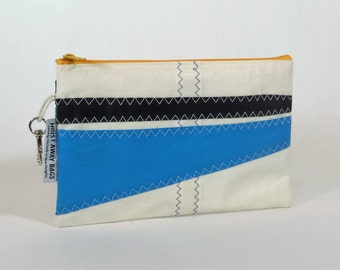 Recycled Sails Nautical Purse Zipper Pouch Clutch Nautical Gift Bridesmaid Bag Sailbag White Bag, Black Bag, Yellow Bag, Blue Bag (Z4)