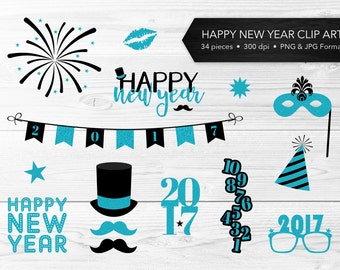 New Year Clip Art -- Black & Blue Glitter, Aqua, Turquoise, Teal, Happy 2017, Masquerade, New Year's Eve, Commercial Use, Instant Download