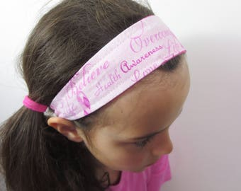 breast cancer hope headband pink ribbon accessory. one size fits all. order up to set of 20 and save.