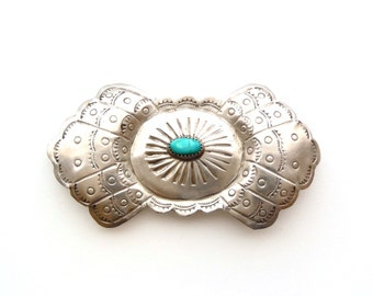 Navajo Nickel Alloy Concha and Turquoise Brooch Pin Hand Stamped Repoussé 1930s-1940s Fred Harvey Era Southwest Tourist Trade Jewelry