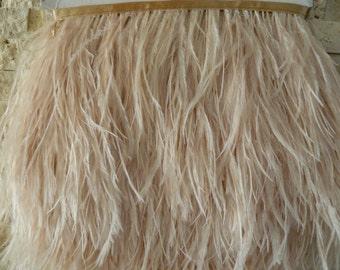 10 yards Ostrich Feather Fringe trim 10-15 cm (4-6 inch), beige/taupe