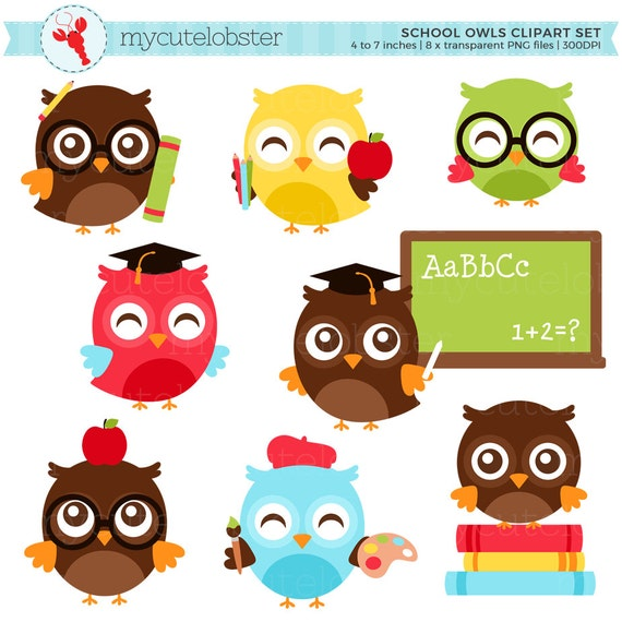 School Owls Clipart Set - clip art set of owls, school, books, back to school, study - personal use, small commercial use, instant download