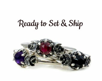 Silver Triple Moon Ring - Ready to Set and Ship - Pick Your Stones - Triple Moon Goddess Engagement Ring