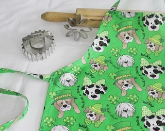 Lucky Dogs St. Patricks Day Child Apron