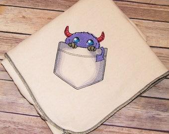 Pocket Monster - Embroidered Snuggle Flannel Baby Blanket - Choose Color