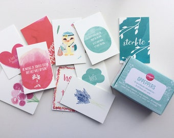 Little gift tags in a box / cheer up / present tags / gift tags / gift box / tags / mini cards / little cards / hang tags / note cards