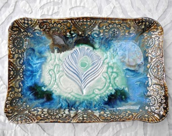 Peacock tray, ceramic platter, Moroccan Decor, appetizer plate, India Decor, turquoise blue, decorative tray, Ceramic Vanity Tray, Feather
