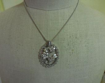 Vintage 1940s to 1950s Silver Tone Krementz Flower and Rhinestone Necklace Wedding Bridal Filigree