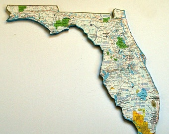FLORIDA State Map Wall Decor | Vintage National Geographic Map | Perfect Gift for Any Occasion | Medium Size)