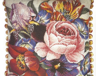 90s Ehrman Needlepoint Kit Morning Glory by Elian McCready Complete Kit for 18 Inch x 18 Inch Pillow Painted Canvas & Wool Ready to Stitch