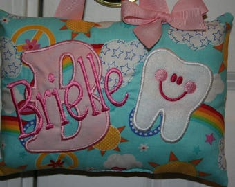 Girls Tooth Fairy Pillow Personalized - Rainbows - Hearts - Peace Sign - Tooth Chart
