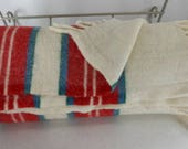 SPECIAL PRICE Wool Throw Cream Red Blue Stripe Borders