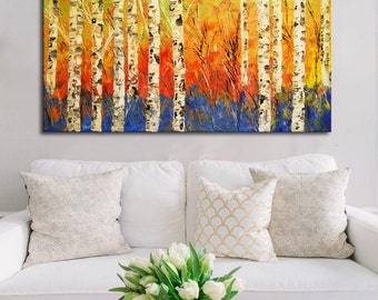 Original Birch Painting Landscape with tree Modern Painting Fall Birch Tree, Palette Knife, Heavy Textured Aspen Trees colorful landscape
