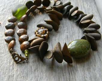 Earthy green and wood necklace chunky necklace unique gift for her big necklace statement necklace greenery nature lover beaded jewelry