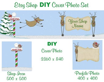 Etsy Shop Banner New Size Cover Photo Set DIY Add Your Shop Name North Pole Fun Christmas Banner Instant Download