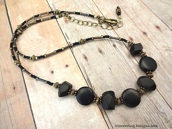 Matte Black Onyx Nuggets Necklace