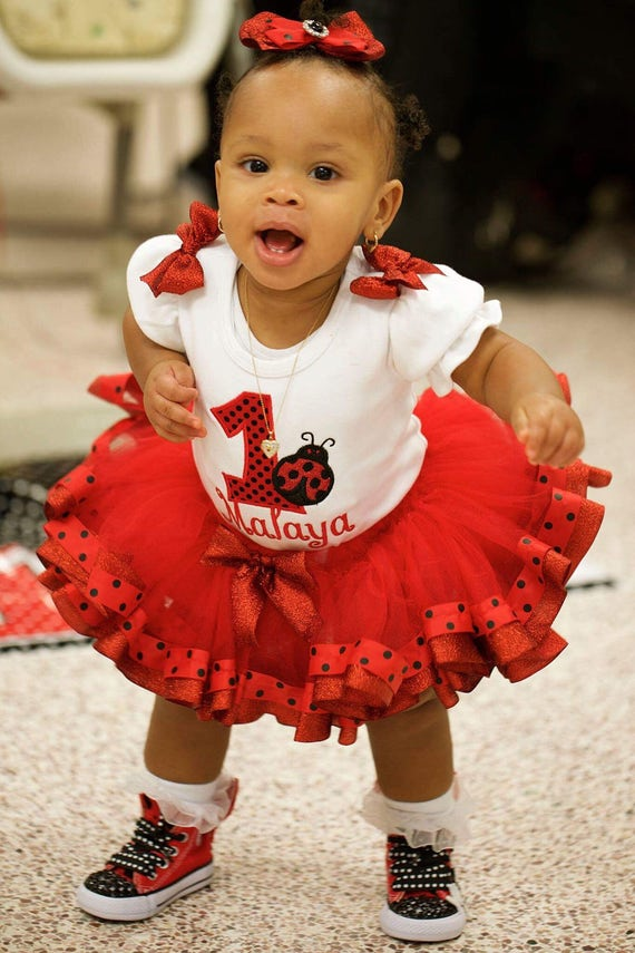 Girl First Birthday Outfit Pinterest: Baby Girls First Birthday 1st Birthday Red And Black Ladybug