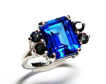 """Electric blue topaz, accent topaz ring, mystic topaz, blue pink green, statement ring , engagement ring, s 5 1/2 """"Marry Me"""""""