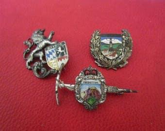 3 Vintage Austrian German Bavarian Alpine Hiking Hat Pins, Souvenir Badges from Bayern, Reit im Winkl, Predigstuhl, Enamel Shields
