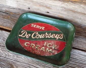 De Courseys Ice Cream Metal Tray Kansas City Dairy Advertising Tray 1940's Shabby Decor Farmhouse Kitchen Decor