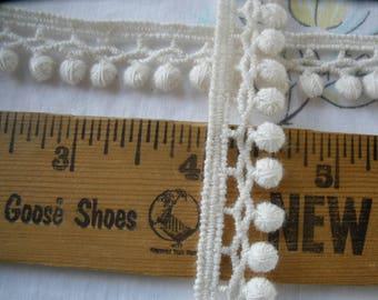 "Cotton Baby Pom Pom trim 15MM 9/16"" Cream off-white boho retro yards edging Tatted look little 3/16"" balls ecru natural color pom poms"
