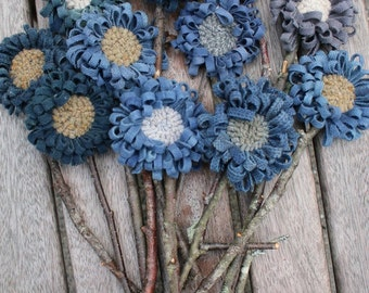 Set of 13 Primitive Folk Art  Hooked Rug Flowers ~ All Blue ~