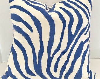 Pillow Cover in Blue and White Zebra Print