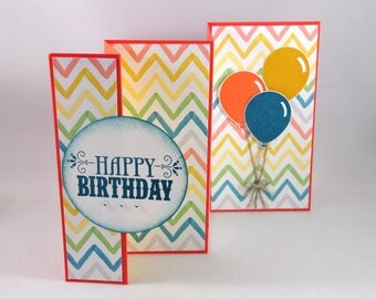 Birthday Card, Greeting Card, Happy Birthday, Birthday Wishes, Accordion Fold, Balloons, Orange, Yellow, Blue, Teal, Chevron, Stampin Up