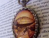 Airship Pendant (N639), Steampunk Necklace, Sepia Sparkle Graphic under Oval Glass Dome, Doctor Who, Faux Pocket Watch Frame, Silver Chain